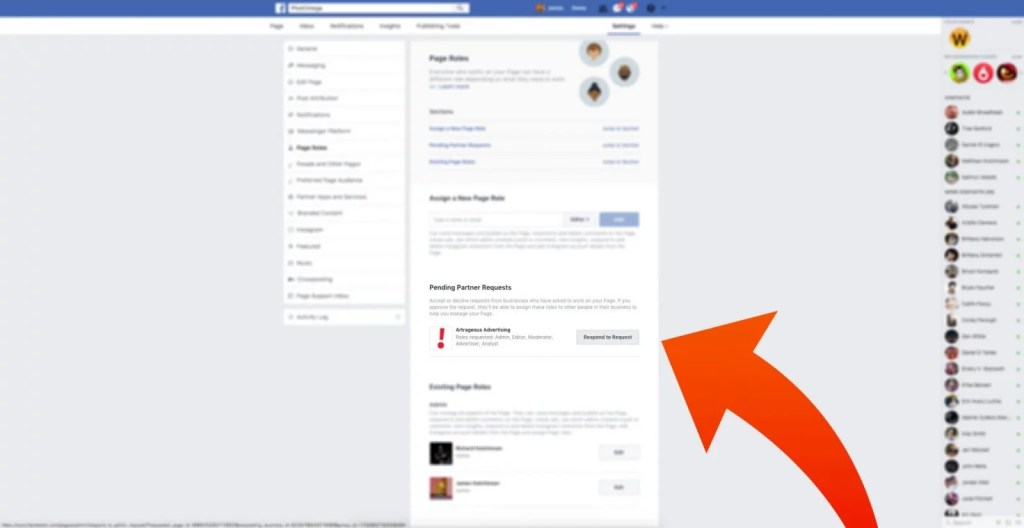 step two of accepting a request to access your page on facebook