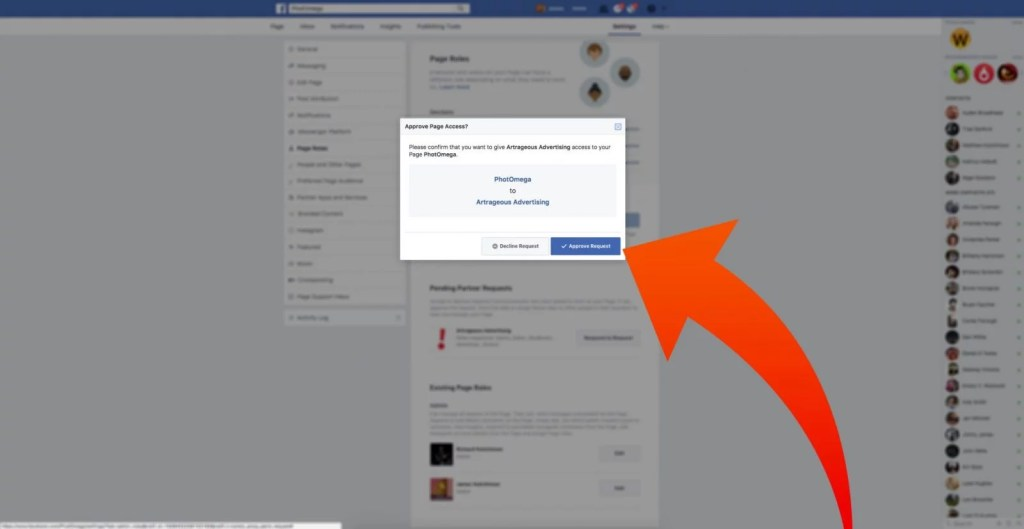 step four of accepting a request to access your page on facebook