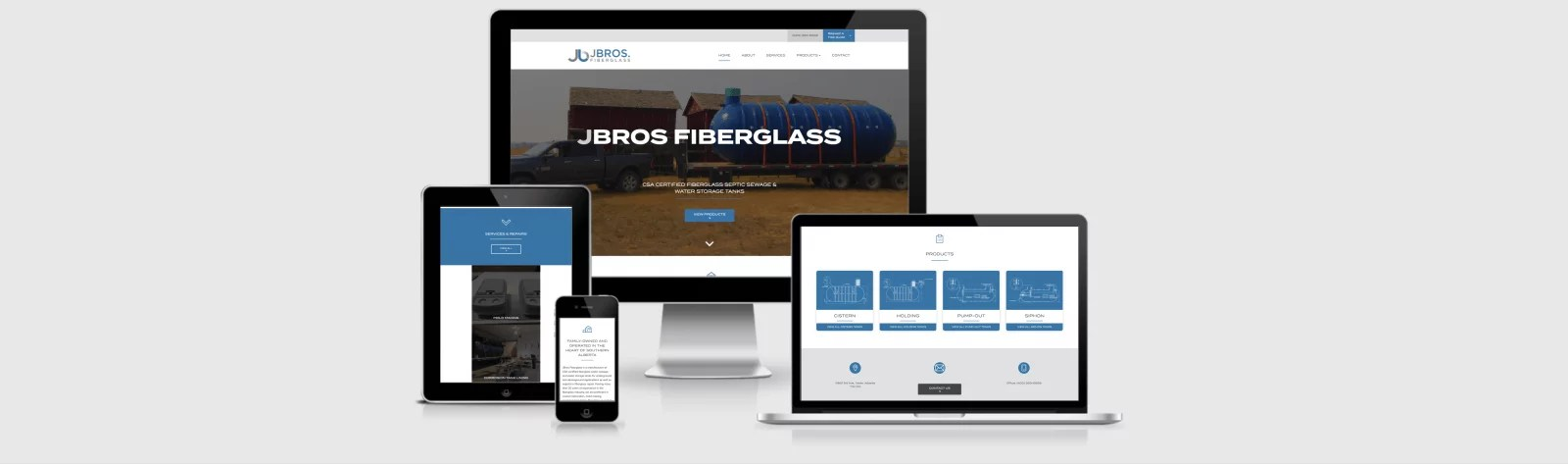 Web Design Markup for J Bros Fiberlgass by Artrageous Advertising
