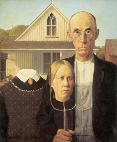 Farmer And His Wife Painting : farmer, painting, Painting, Farmer, Couple, Pitchfork, Collections