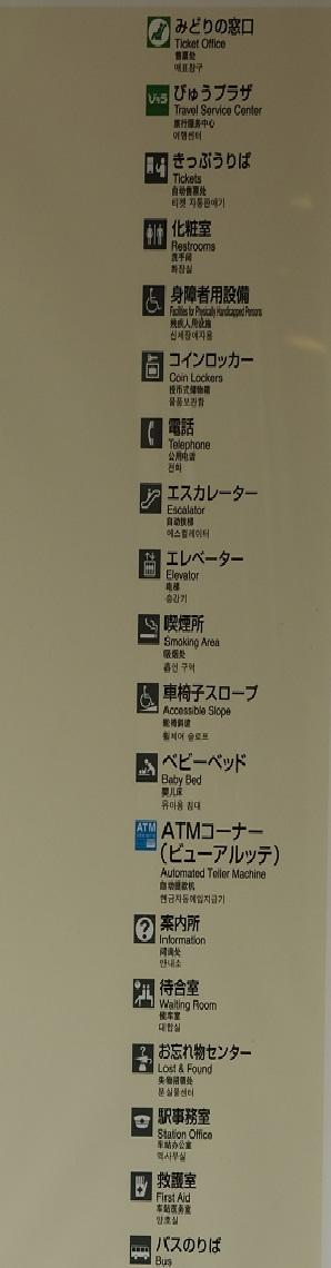 仙台駅の構内図の掲示標識の紹介写真