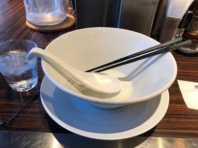 ゆず塩海老ワンタン麺味玉入りの完食の写真画像