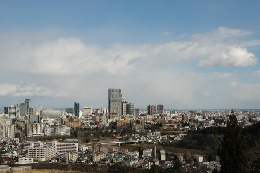 x-t3のレビューと画質の評価仙台城から仙台市内一望の風景写真