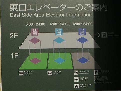 仙台駅に東口橋乗り場に降りるエレベーターの案内図