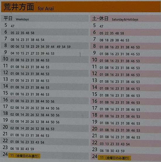 仙台地下鉄東西線の時刻表の写真荒井方面