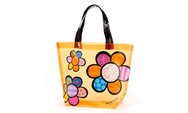 Romero Britto Flowers Transparent PVC Tote Bag