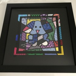 25855530f Romero Britto Hand Signed Print (Painted Frame) : Blue Dog Artreco