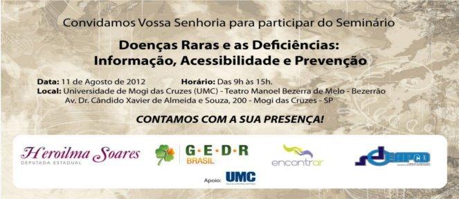 Convite Seminário Doenças Raras – UMC – Mogi das Cruzes