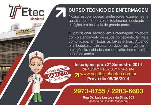Curso Técnico de Enfermagem Gratuito – ETEC Mandaqui – SP