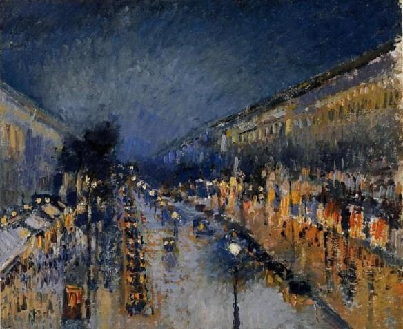 Писсарро бульвар Монмартр ночью
