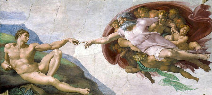 Сотворение Адама Микеланджело в Сикстинской капелле