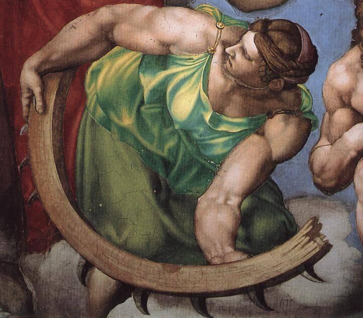 Микеланджело страшный суд женщина с плугом