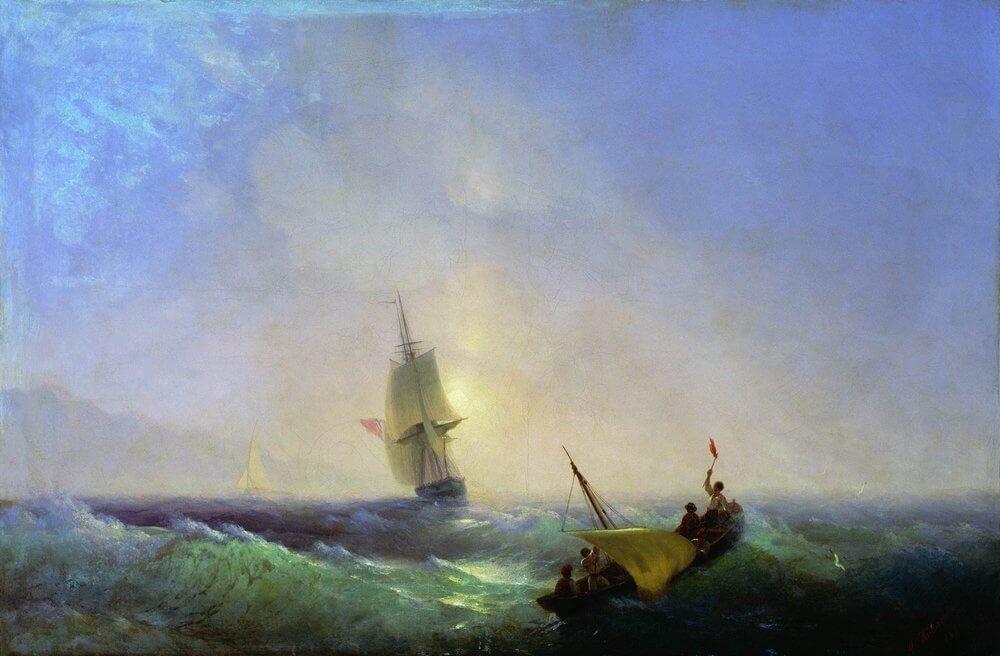 Айвазовский спасающиеся от кораблекрушения