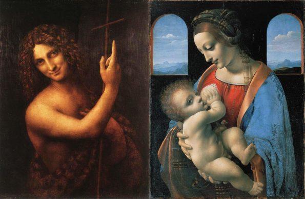 Слева: Леонардо да Винчи. Святой Иоанн Креститель. Справа: Леонардо да Винчи. Мадонна Литта.