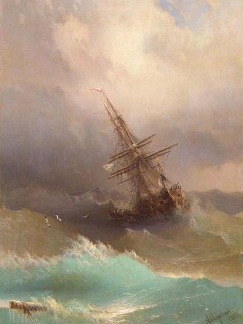 Айвазовский корабль среди бурного моря
