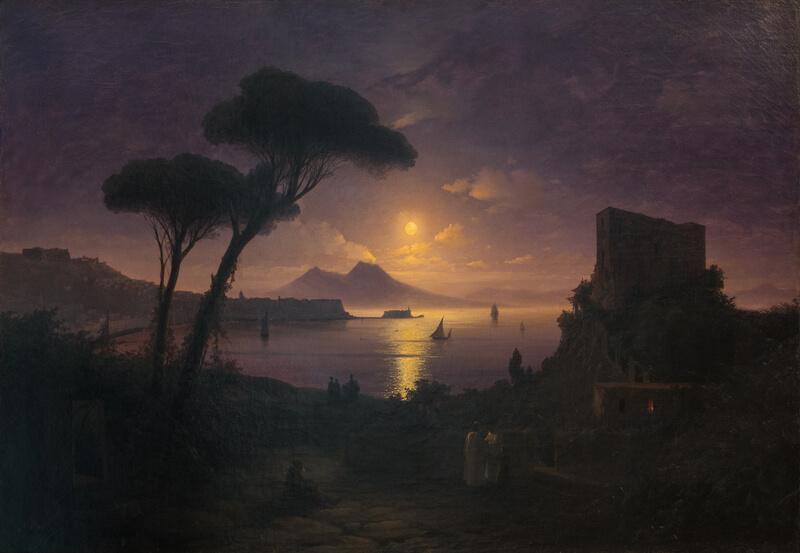 Айвазовский неаполитанский залив в лунную ночь