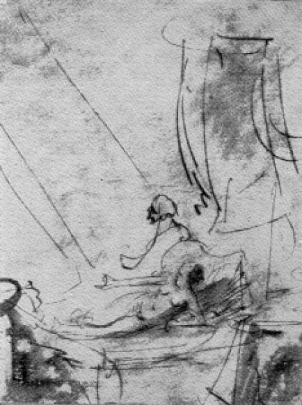 Набросок Данаи Рембрандта