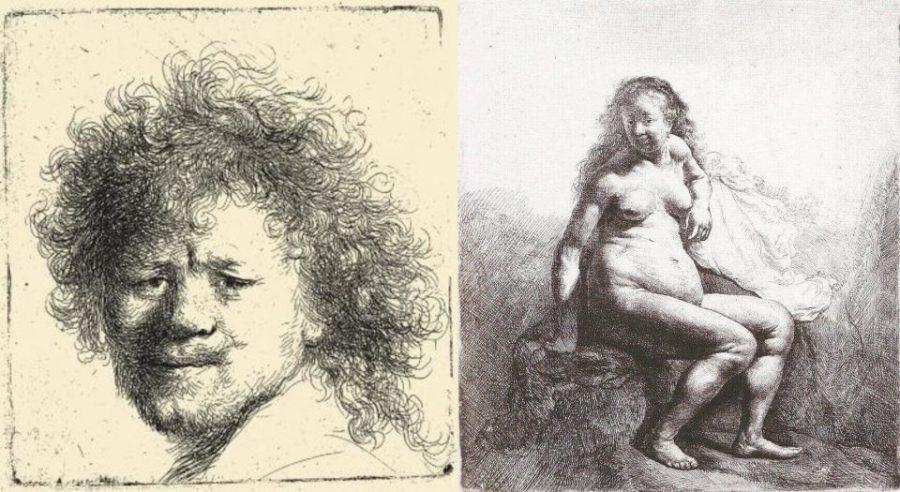 Офорты Рембрандта. Слева: Автопортрет с растрёпанными волосами. Справа: Обнаженная Саския.