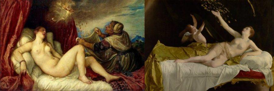 Слева: Тициан. Даная. 1556 г. Справа: Орацио Джентилески.