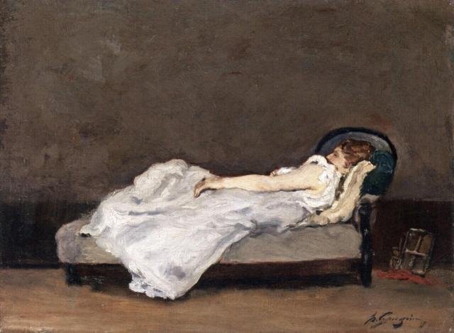 Гоген Метте спит на диване