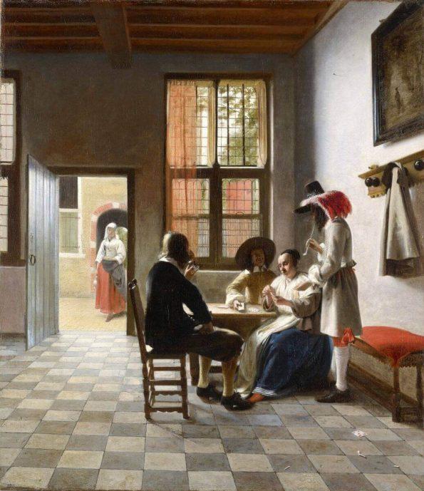 Питер де Хох. Игроки в карты в солнечной комнате.
