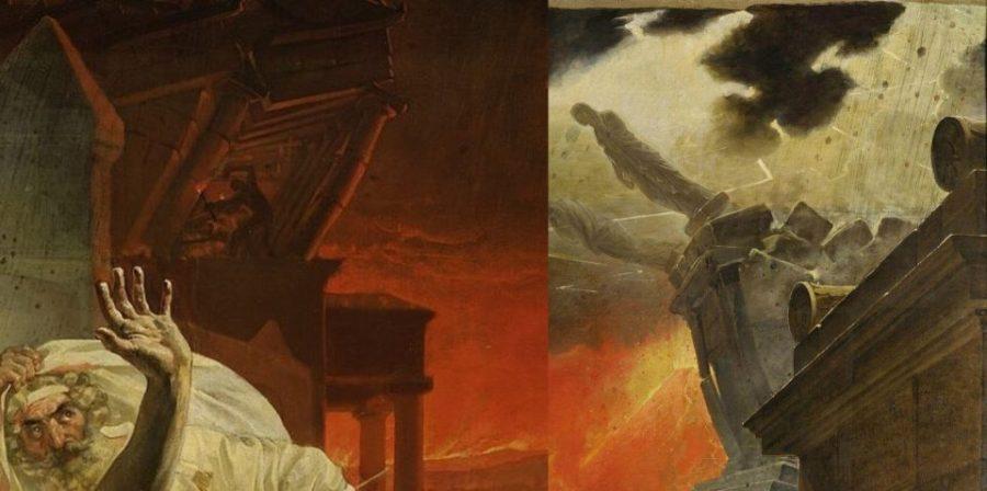 Слева: К. Брюллов. Последний день Помпеи. Разрушающийся храм. Справа: К. Брюллов. Последний день Помпеи. Падающие статуи