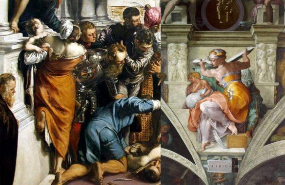 "Слева: Тинторетто. Фрагмент ""Чуда святого Марка"". Справа: Микеланджело. Ливийская сивилла."