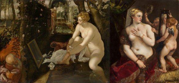 Слева: Тинторетто. Сусанна и старцы. Справа: Тициан. Венера перед зеркалом.