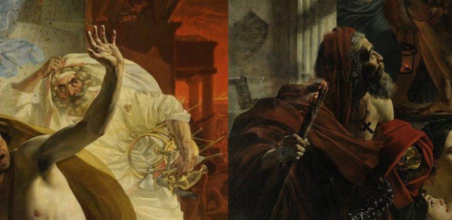 Слева: К.Брюллов. Последний день Помпеи. Жрец. 1833 г. Справа: К. Брюллов. Последний день Помпеи. Христианский священнослужитель