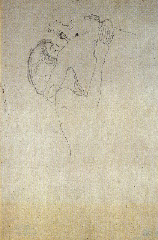 Климт обнимающаяся пара рисунок