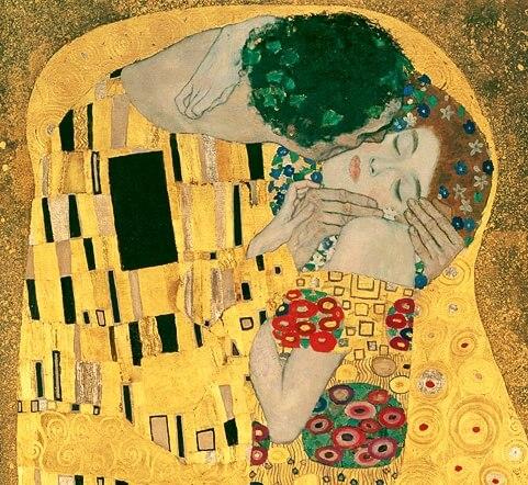 Климт фрагмент Поцелуя