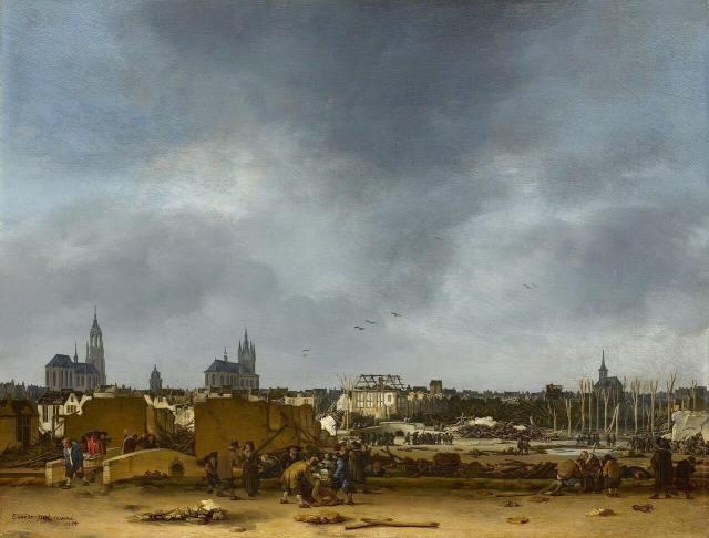 Эгберт Ван дер Пул. Вид Дельфта после взрыва. 1654 г. Национальная лондонская галерея