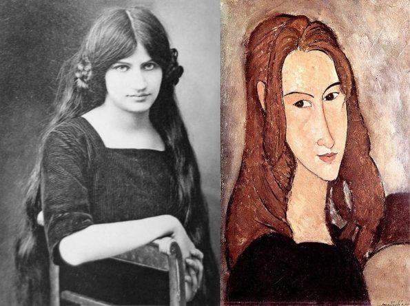 Слева: Фото Жанны Эбютерн. Справа: Портрет девушки (Жанны Эбютерн) Модильяни, 1917.