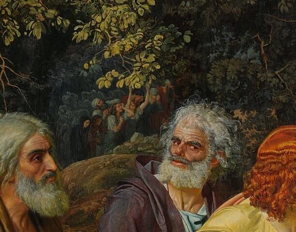 Александр Иванов. Верующие в гуще деревьев: деталь «Явления Христа народу»
