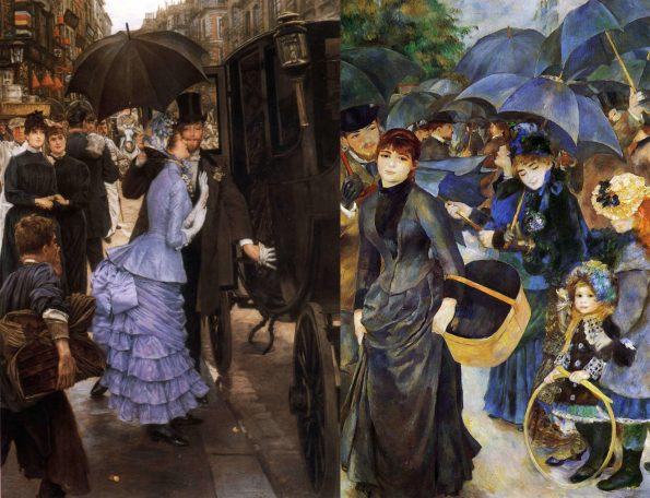 Слева: Джеймс Тиссо. Подружка невесты. 1883. Художественная галерея Лидса. Справа: Пьер Огюст Ренуар. Зонтики. 1881—1886. Национальная галерея Лондона.