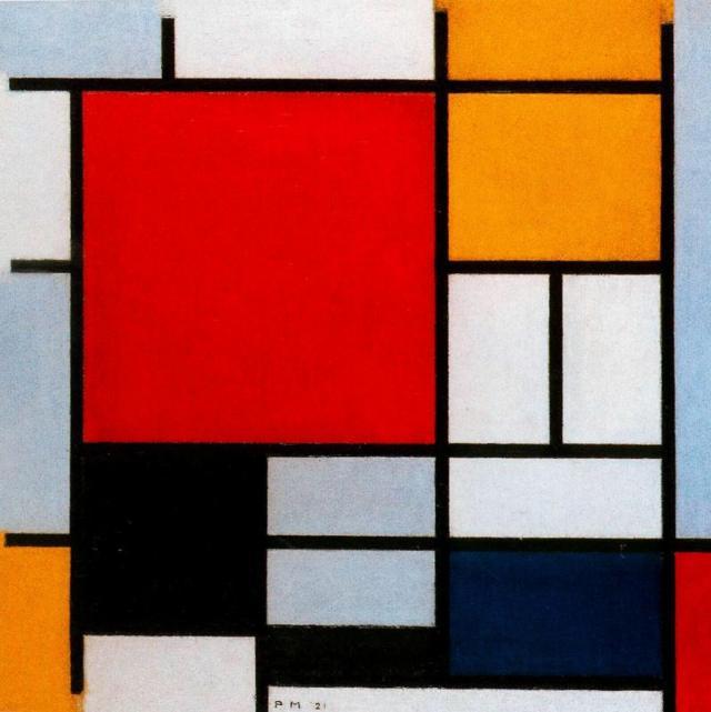 Мондриан композиция с большой красной плоскостью