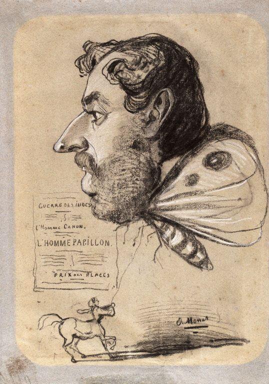 Моне. Карикатура «Человек-бабочка»