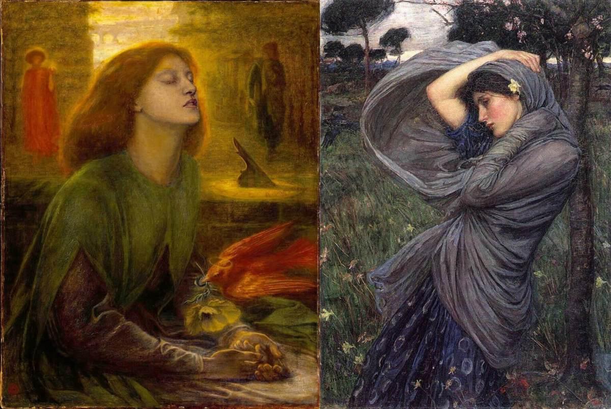 Left: Dante Gabriel Rossetti. Beata Beatrix. 1864-1870. Right: John William Waterhouse. Boreas. 1903.