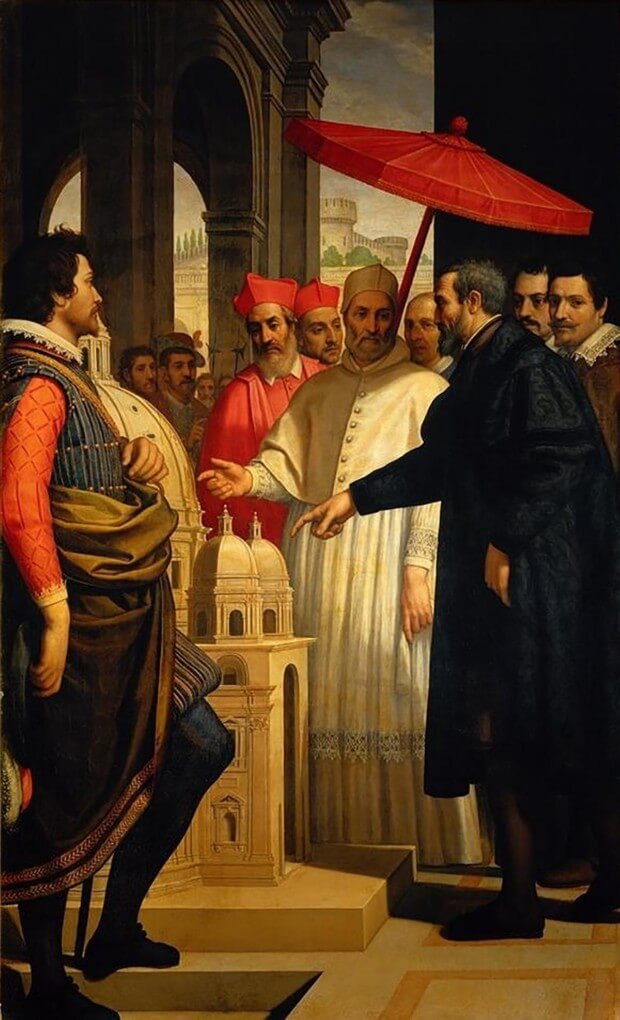 Domenico Cresti. Michelangelo Presenting the Model of St. Peter's to Pope Pius IV