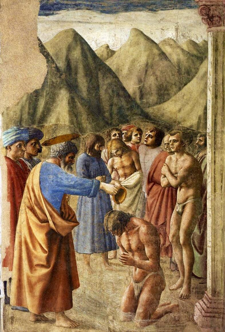 Masaccio. Baptism of the Neophytes