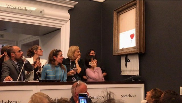 Self-destruction of Banksy painting