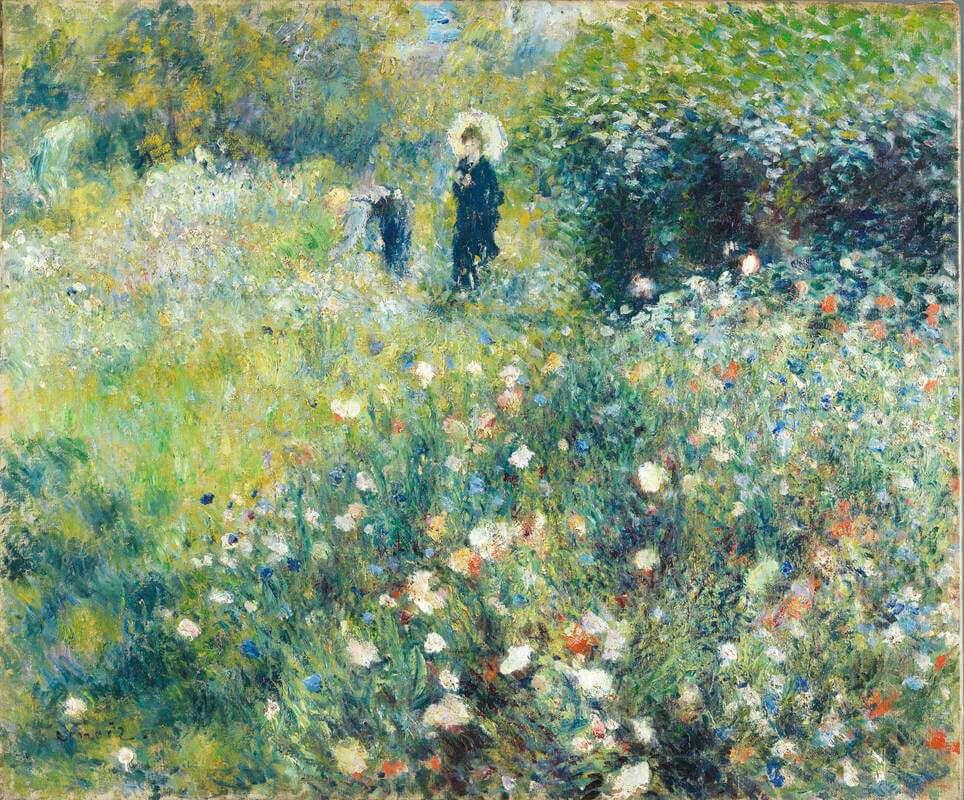 Renoir woman with an umbrella in the garden