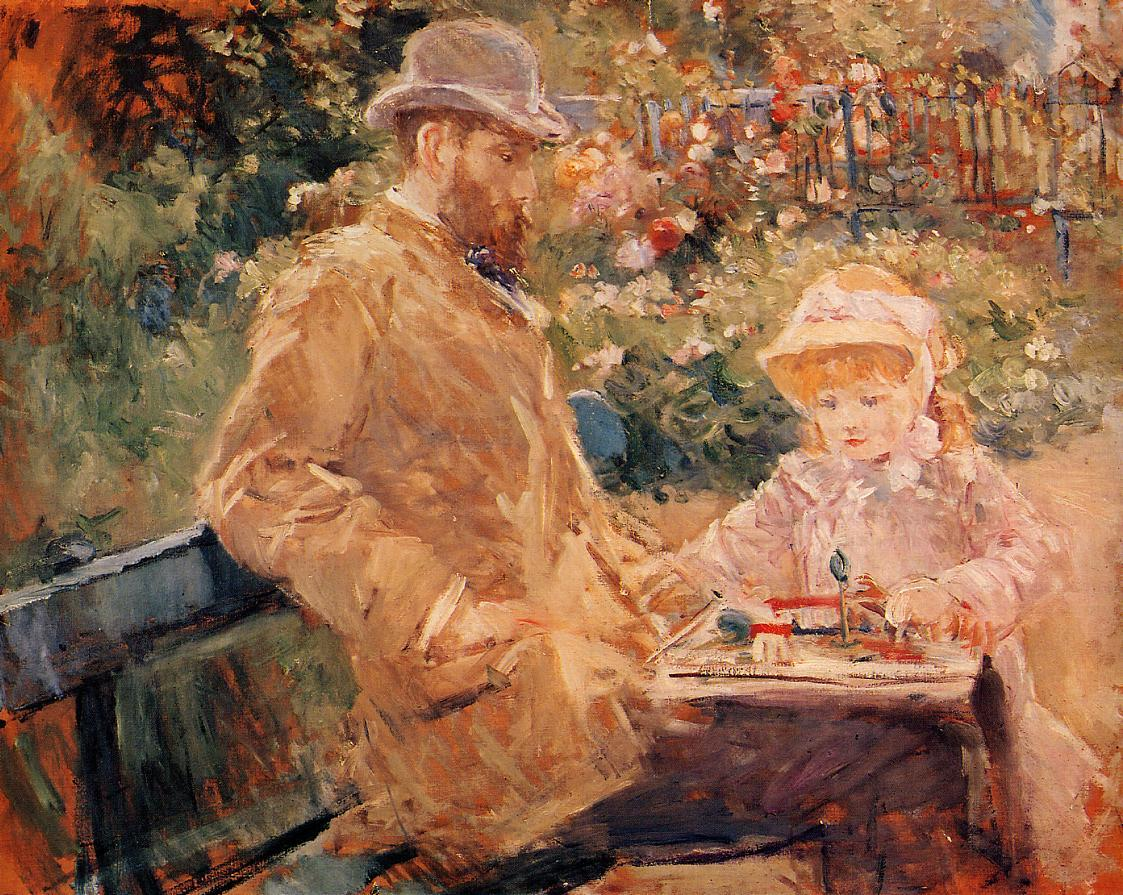 Morisot Eugene Manet with his daughter in Bougival