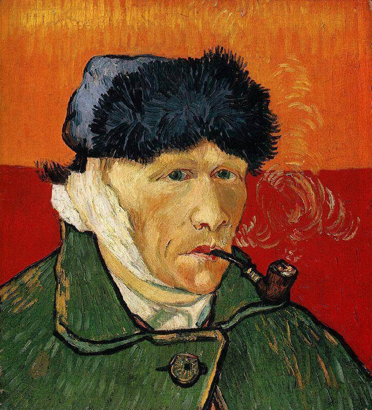 Vincent Van Gogh. Self-portrait with cut off ear and tube.