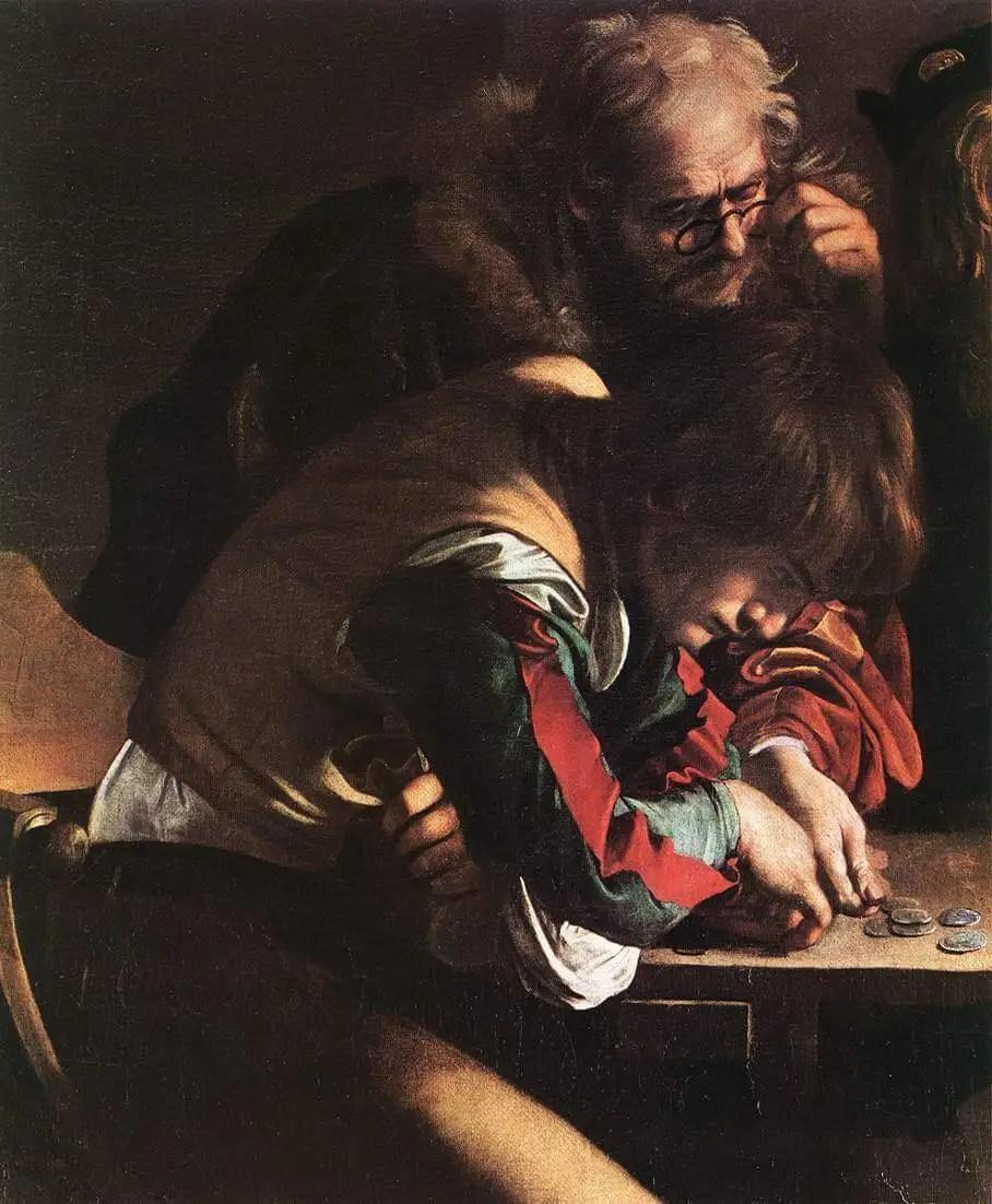 Caravaggio. The Calling of St. Matthew. Fragment.