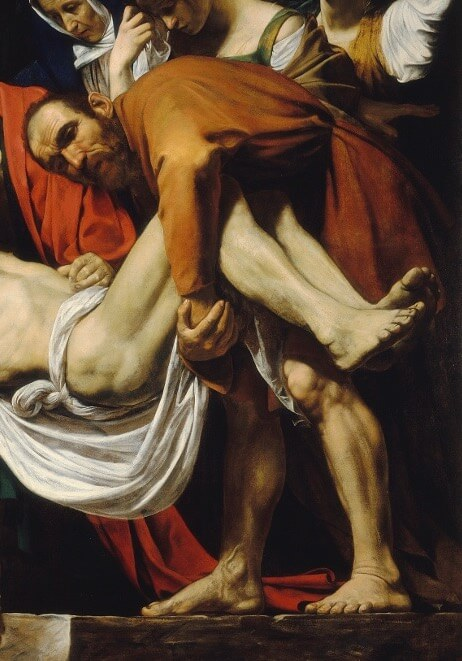 Caravaggio. Entombment of Christ. Fragment.