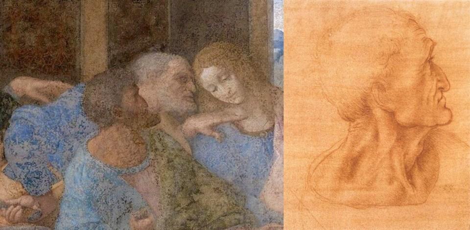 """Works by Leonardo da Vinci 1498. Left: fragment of the """"Last Supper"""" fresco. Church of Santa Maria delle Grazie. Right: The Head of Judas. Preparatory drawing for the fresco """"The Last Supper""""."""