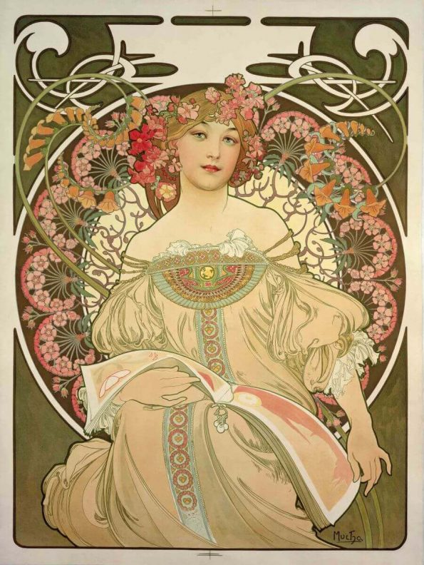Alphonse Mucha. Reverie. Color lithography.