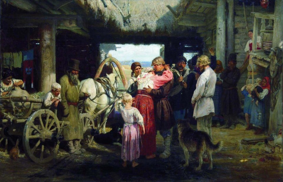 Ilya Repin. Seeing off a recruit.