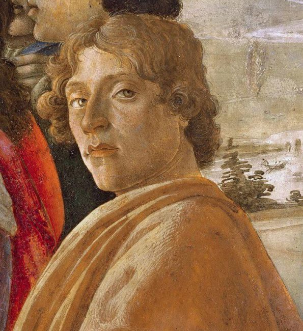 Sandro Botticelli. A fragment of Adoration of the Magi (self-portrait). 1475. The Uffizi Gallery, Florence.